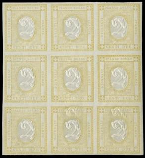 ITALIA REGNO 1862 - 10+10c: 2c giallo BL9 varietà