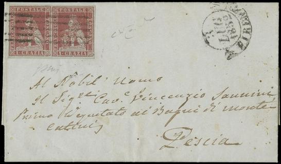 TOSCANA 1851 - 04: 1cr carminio chiaro coppia su lettera da Firenze a Pescia