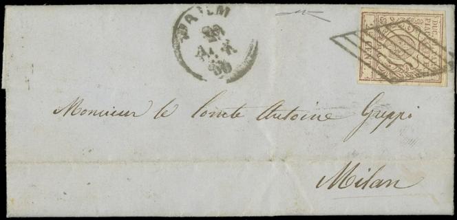 """PARMA 1859 - 10: 25c bruno lilla da """"PARMA 29 APR. 59"""" a Milano"""