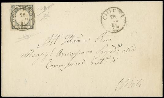 PROVINCE NAPOLETANE 1861 - 19a: 1gr grigio scuro su lettera per città da Chieti