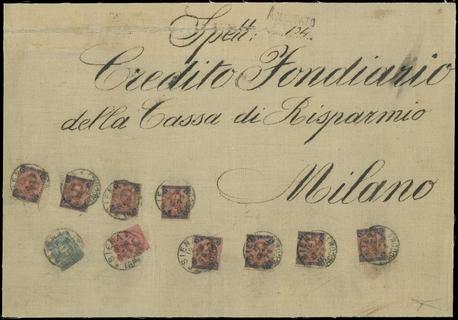ITALIA REGNO 1898 - 60+64+67: Umberto I, 10c carminio + 5l carminio e azzurro 8 esemplari + 5c verde su frontespizio completo di busta telata, assicurata per Milano