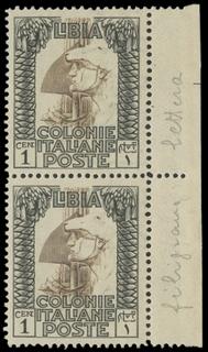COLONIE ITALIANE 1921 - LIBIA 21a: Pittorica, 1c nero e bruno, coppia BdF