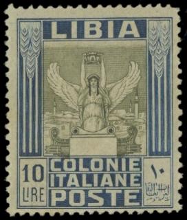 COLONIE ITALIANE 1921 - LIBIA 32a: Pittorica, 10L azzurro e oliva, dentellatura 14x13¼