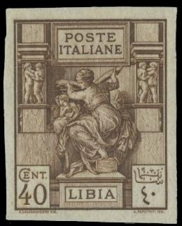 COLONIE ITALIANE 1924 - LIBIA 41b: Sibilla Libica, 40c bruno non dentallato