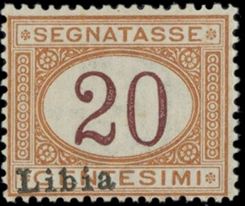 COLONIE ITALIANE 1915 - LIBIA T3: Segnatasse, 20c arancio e carminio con soprastampa obliqua