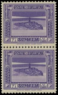 COLONIE ITALIANE 1932 - SOMALIA 168a: Pittorica, 7½ violetto coppia verticale, dentellatura 12x14