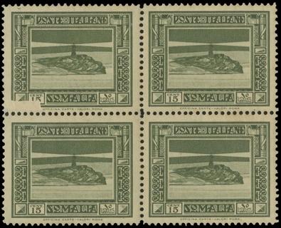 COLONIE ITALIANE 1935 - SOMALIA 216: Pittorica,15c oliva BL4, falla di stampa