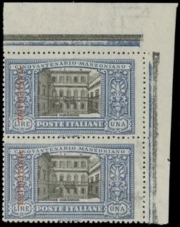 COLONIE ITALIANE 1924 - TRIPOLITANIA 15: Manzoni, 1L azzurro e nero, coppia AdF, filigrana lettere
