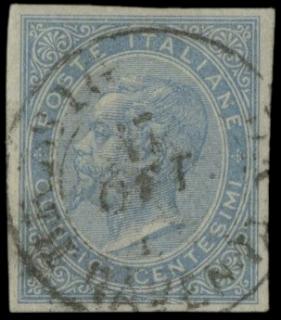 ITALIA REGNO 1863 - L18c: DLR 15c chiaro, Londra, non dentellato, usato