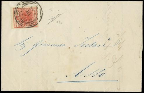LOMBARDO VENETO 1851 - 15c rosso carminio scuro, I tipo, II tavola, su lettera per Asso