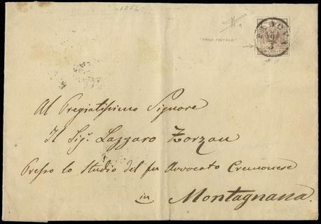 LOMBARDO VENETO 1850 - 30c bruno lillaceo riusato in frode su lettera per Montagnana