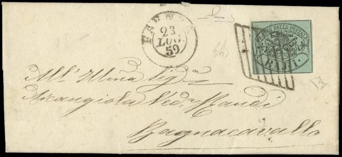 """ROMAGNE 1859 - Pontificio 1 baj verde azzurro su lettera da """"FAENZA 23 LUG 59"""" a Bagnacavallo"""