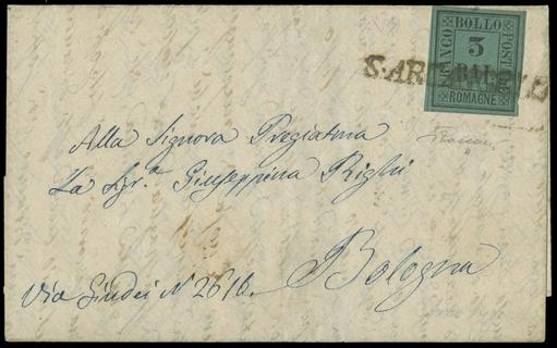 """ROMAGNE 1859 - 3 baj verde scuro da """"S.ARCANGELO"""" a Bologna"""