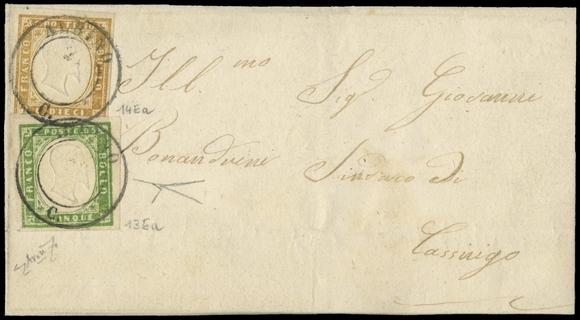 LOMBARDO VENETO 1863 - Stati Sardi: 5c verde + 10c bistro chiaro annullati con timbro di Albino su lettera per Casnigo