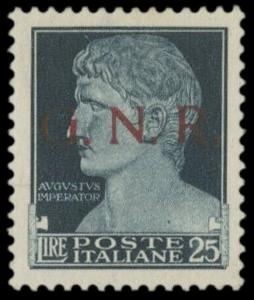 ITALIA REPUBBLICA SOCIALE 1943 - GNR Brescia, 25 lire nero azzurro
