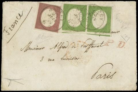 """SARDEGNA 1855 - 5c verde giallo coppia + 40c rosso mattone cupo su busta da """"ANNECY 23 JUIN 55"""" a Parigi"""