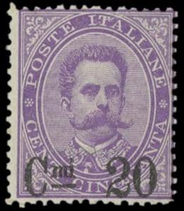 ITALIA REGNO 1890 - 58: 20c su 50c violetto