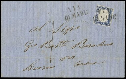 ITALIA REGNO 1862 - 02b: 20c indaco chiaro su lettera da Sestri per Cesena