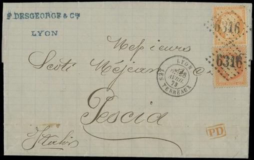 FRANCIA 1873 - 31+38: 40c+40c valori gemelli su lettera per Pescia