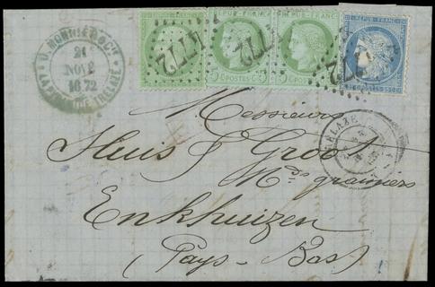 FRANCIA 1872 - 35+53+60: 5c+5c coppia+25c su lettera per l'Olanda