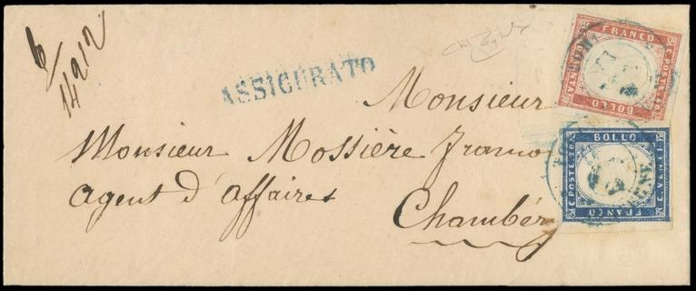 SARDEGNA 1857 - 15A+16Aa: 20c azzurro grigiastro + 40c rosso scarlatto chiaro su busta per Chambery