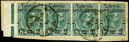 ITALIA REGNO 1890 - 53bah: Francobolli per pacchi soprastampati, 2c su 75c verde ST4 BdF su frammento