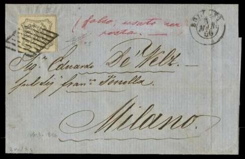 PONTIFICIO 1855 - 8baj bianco, Falso per Servire su lettera per Milano