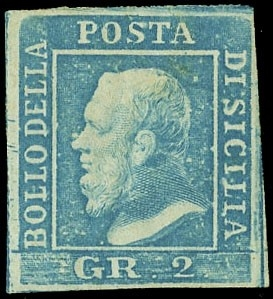 SICILIA 1859 - Sicily: 2 gr light blue, II plate, pos.51