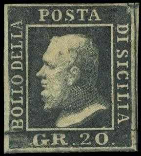 SICILIA 1859 - 13c: 20gr ardesia scuro
