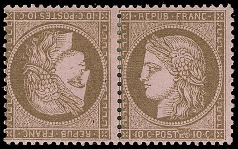 FRANCIA 1871 - 58c:  10c bruno su rosa, coppia Tete-Beche