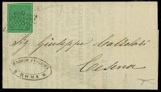 PONTIFICIO 1867 - II emissione, 2c verde giallo su lettera per Cesena