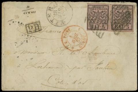 PONTIFICIO 1852 - 5baj rosa carminio, coppia orizzontale su busta per Saulieu