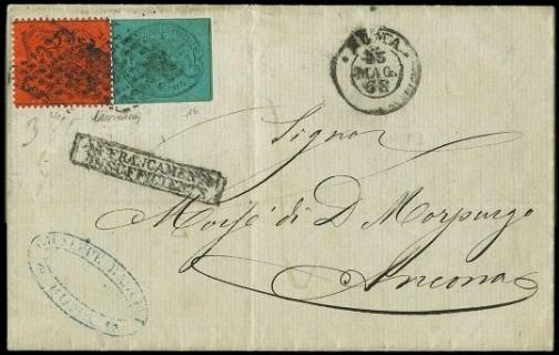PONTIFICIO 1867 - 5c azzurro verdastro e 10c arancio vermiglio su lettera per Ancona