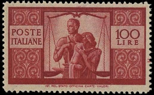 ITALIA REPUBBLICA 1946 - Democratica 100L carminio scuro