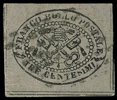 PONTIFICIO 1867 - 3c grigio rosa, II emissione, annullato con bollo muto a losanga