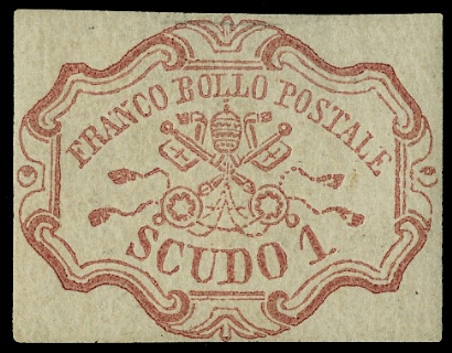 PONTIFICIO 1852 - 1 scudo rosa carminio