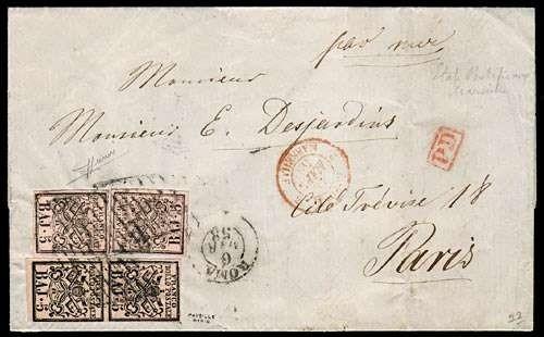 PONTIFICIO 1852 - 6+6a su lettera da 'ROMA 6 MAR 58' per Parigi